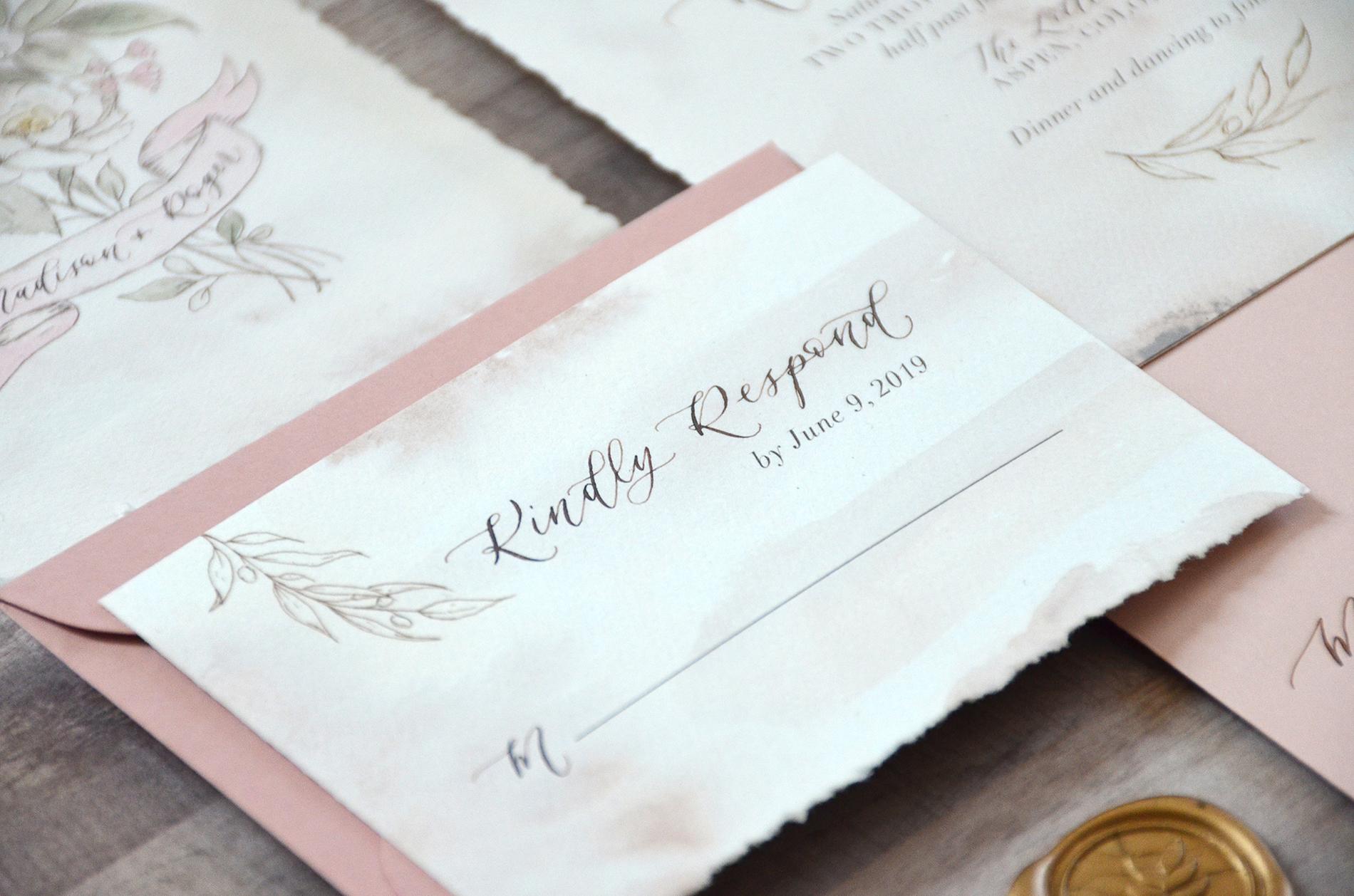 Sam Allen Creates Rose and Floral Botanical Illustrated Wedding Invitation Suite with Handtorn Edges RSVP Card