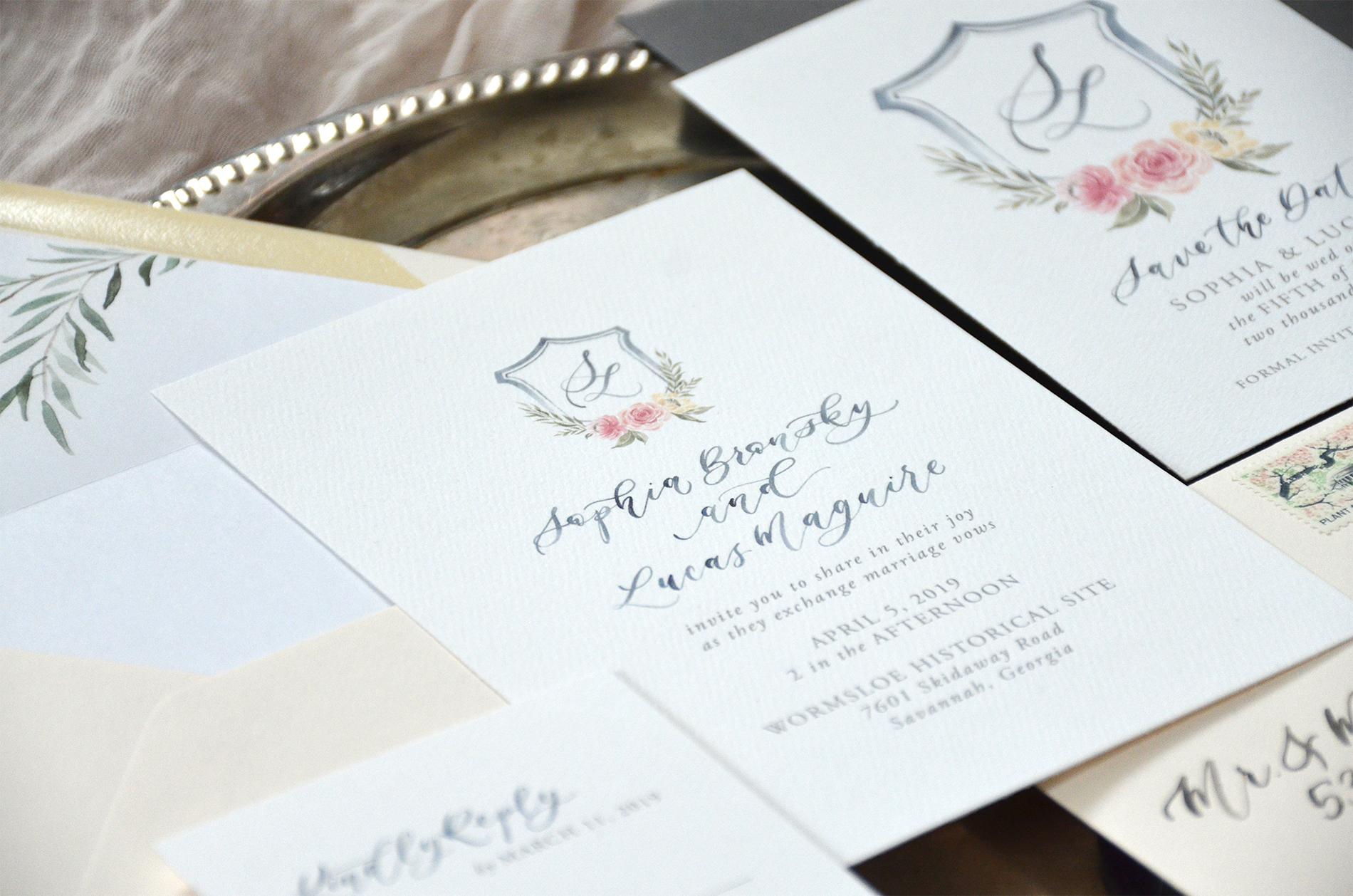 Sam Allen Creates Watercolor Crest Wedding Invitation detail
