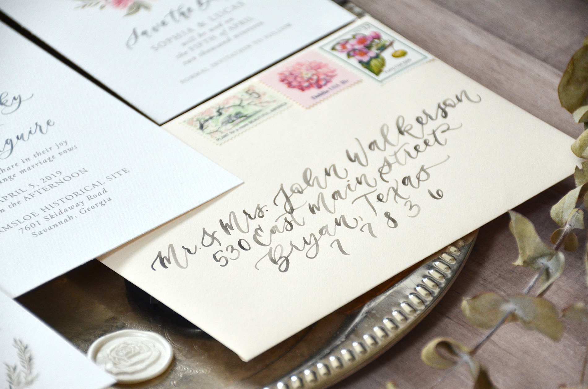 Sam Allen Creates Watercolor Crest Wedding Invitation envelope calligraphy addressing