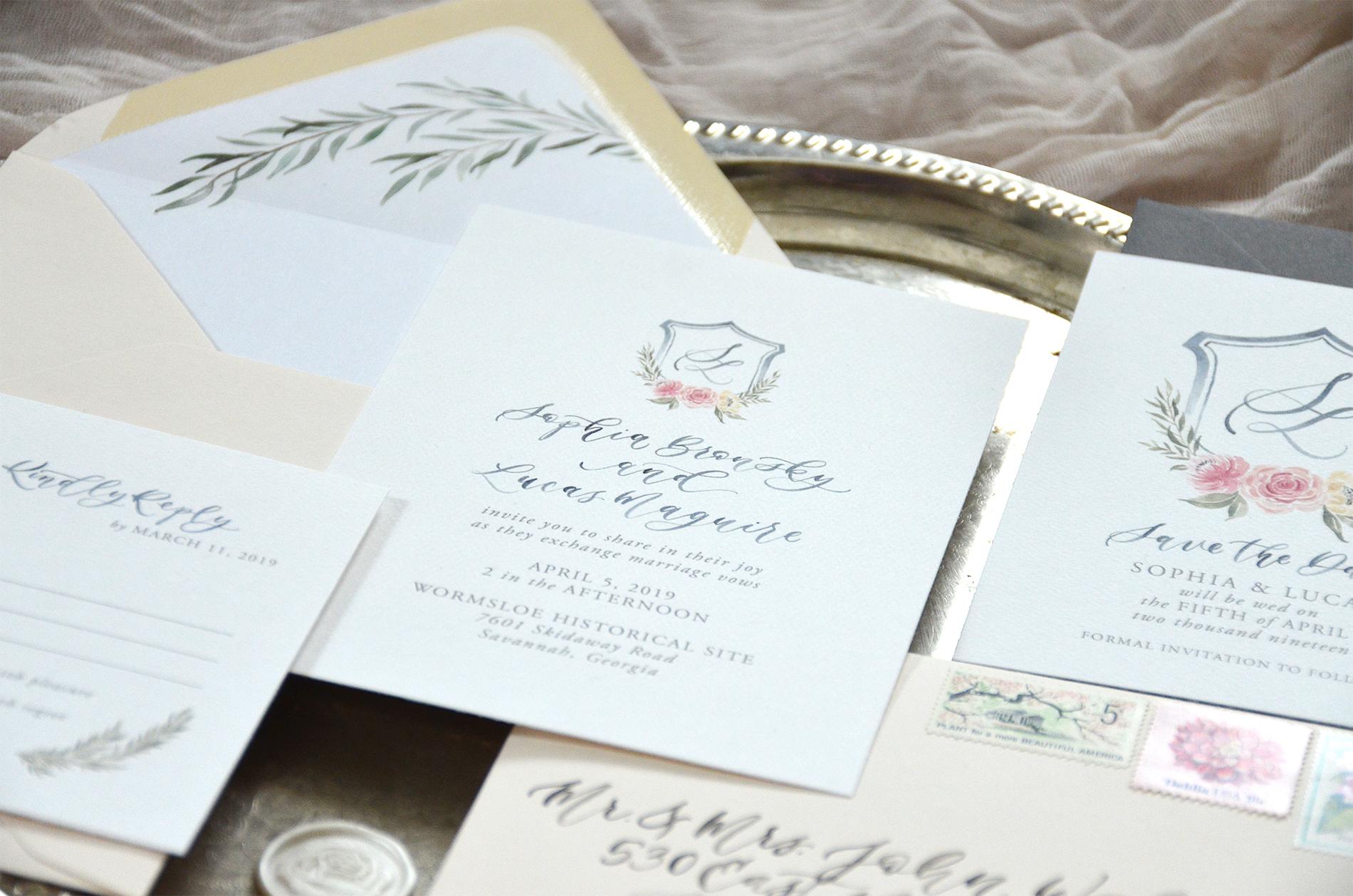 Sam Allen Creates Watercolor Crest Wedding Invitation suite