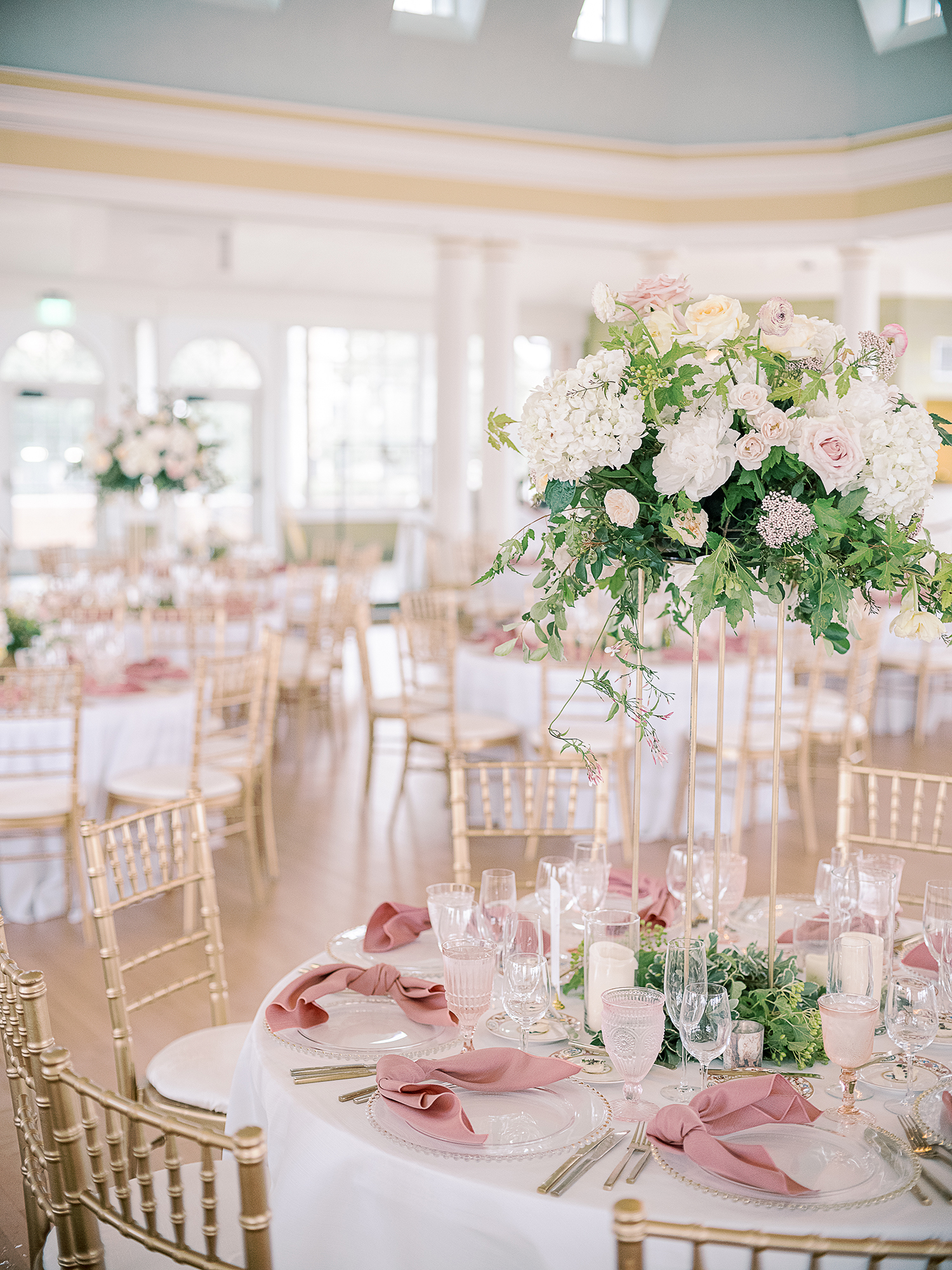 Christina Dusty Rose and Gold Wedding Ballroom Reception Clary Pfeiffer Photography detail