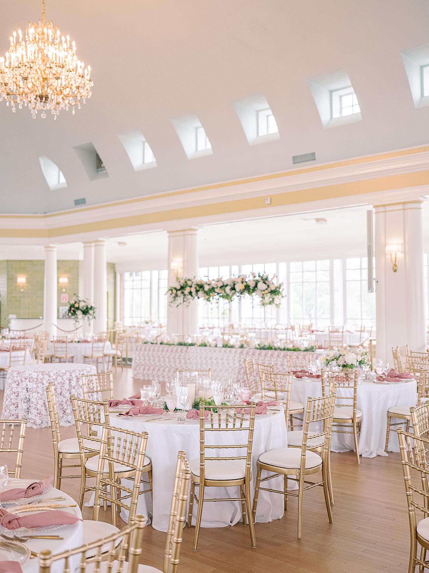 Christina Dusty Rose and Gold Wedding Ballroom Reception Clary Pfeiffer Photography