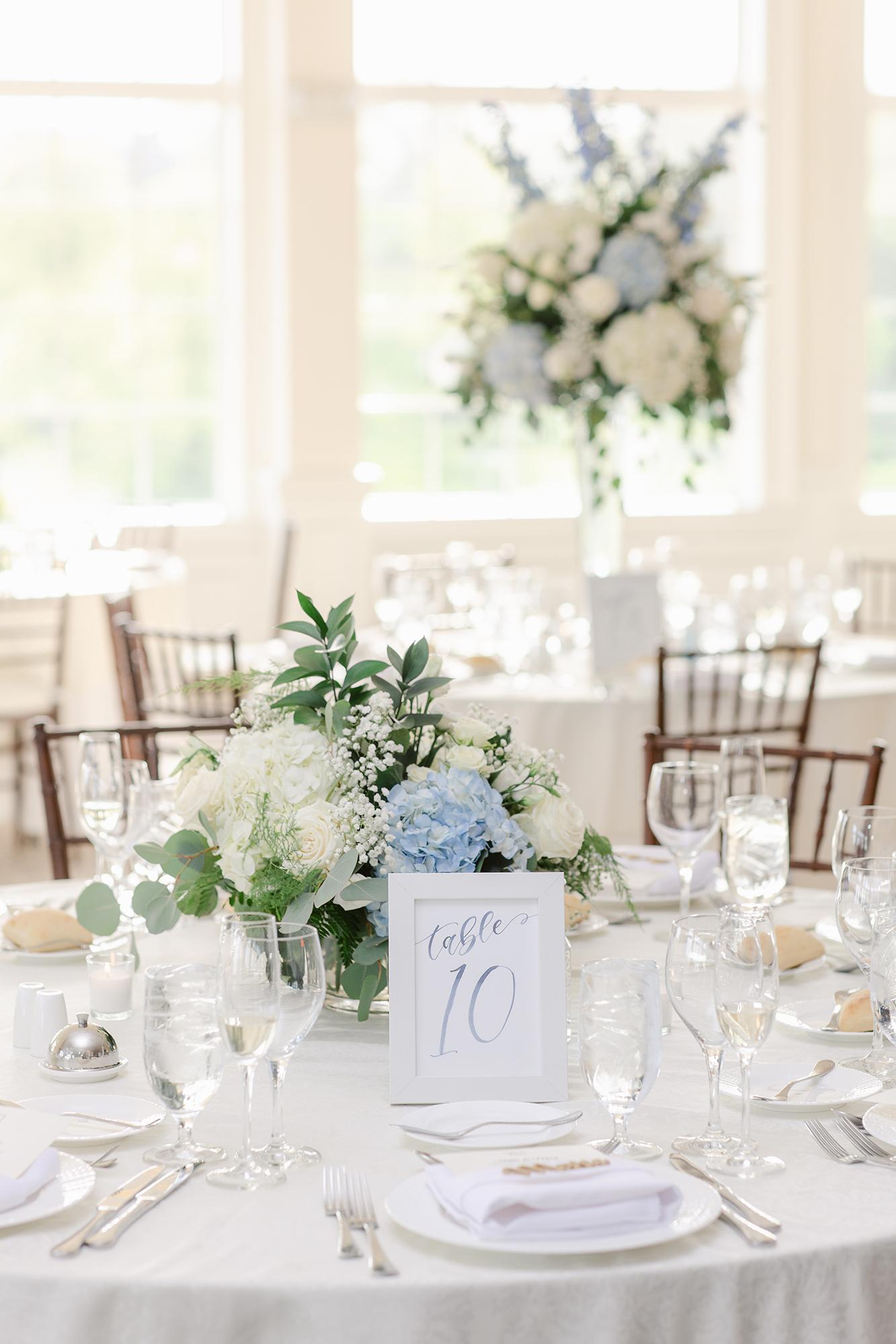 Sam Allen Creates Watercolor Table Number Sign for Wedding Reception Dinner Tablescape Katie+Mark-Wedding-780 Lauren Kearns Photography