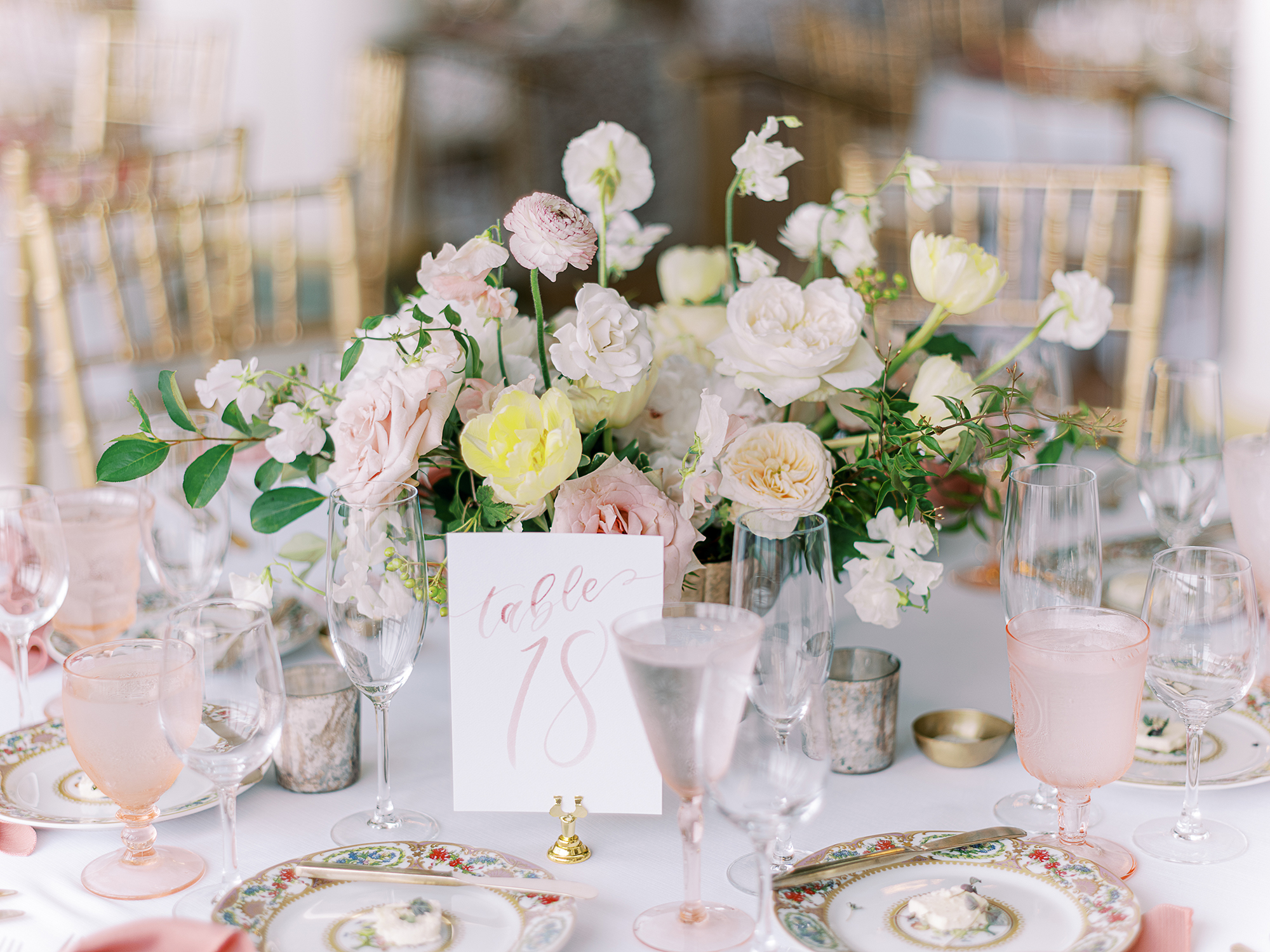 Sam Allen Creates – Watercolor Table Number for Wedding Reception Tablescape – Clary Pfeiffer Photography.jpg