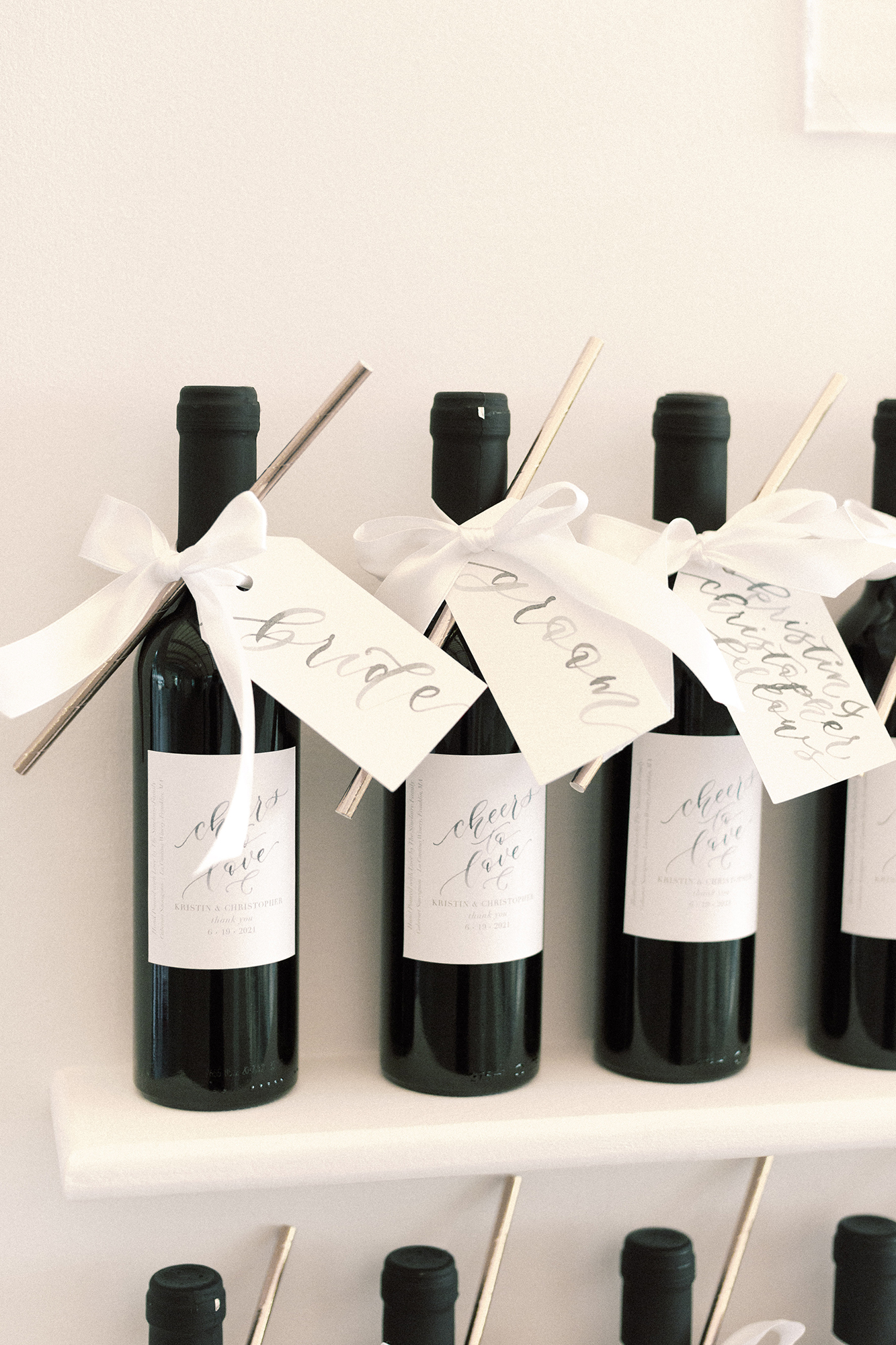 Wine Bottle Seating Chart Display with Name Tags