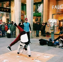 Break-dancing street performance