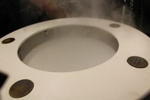 Steam that smells like roasted barley