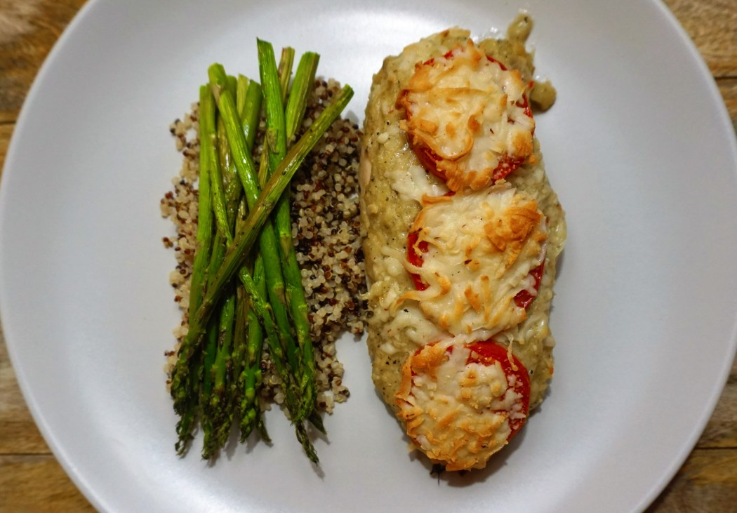 chicken pesto baked cheesy asparagus quinoa