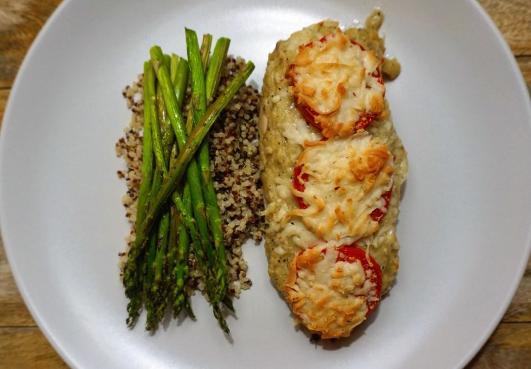 chicken pesto baked cheesy asparagus quinoa