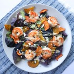 sweet potato beet shrimp salad feta blue napkin