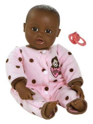 Giggle Time Baby Girl, Dark Skin, Black/Brown