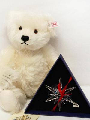 Crystal White Steiff Teddy Bear With Pendant