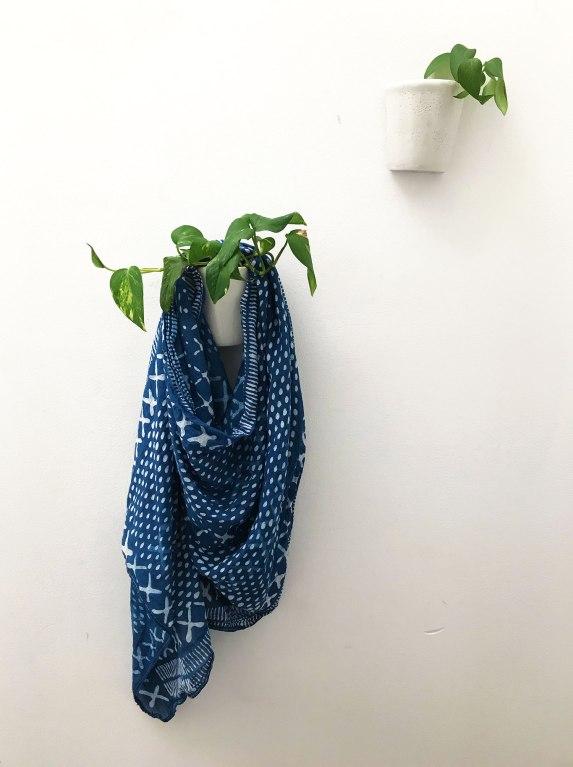 indigo dyed scarf - dabu mud resist