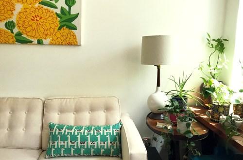 llama pillow - ellen baker for kokka stencil llama fabric