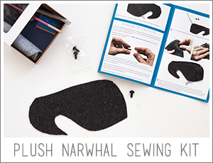 plush narwhal sewing kit: make a narwhal! available at fluffyland