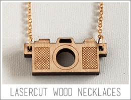 wood camera necklaces, available at samanthasnap on etsy
