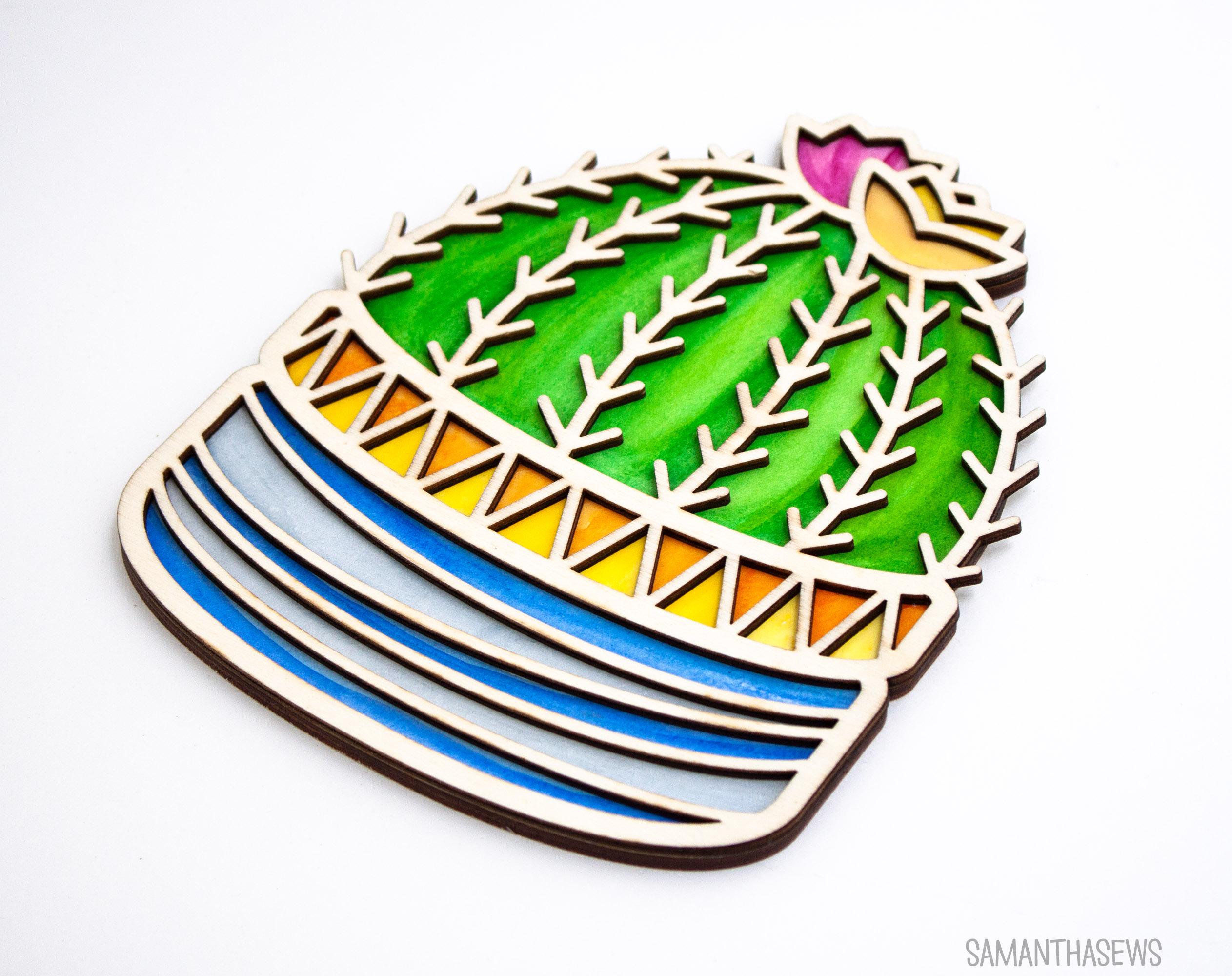 Cactus Coloring Kit, wood outline - SamanthaSews