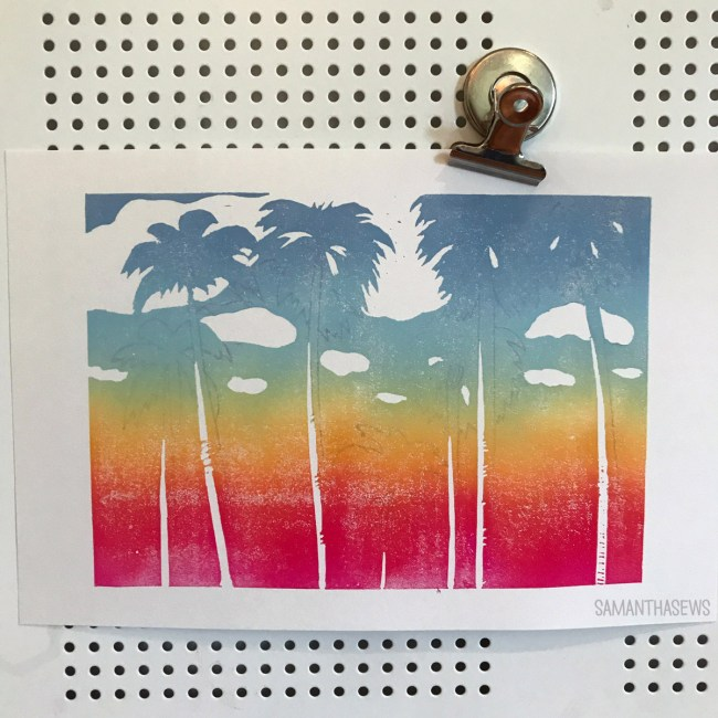Sunset Palm Trees Blockprint with Rainbow Gradient - samanthasews