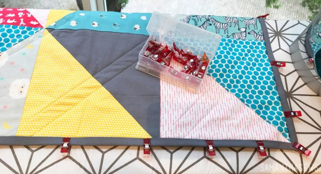 solid gray quilt binding with wonder clips