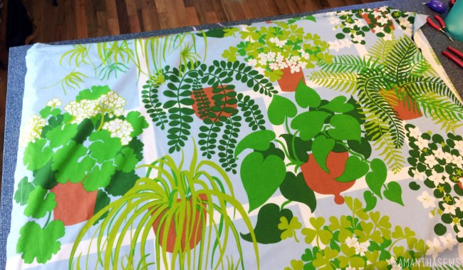 plant fabric stretched over canvas for wall art