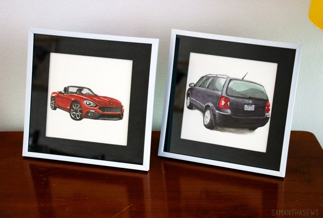watercolor car portrait as husband birthday gift