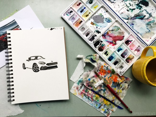 painting a watercolor car portrait for my husband's birthday gift
