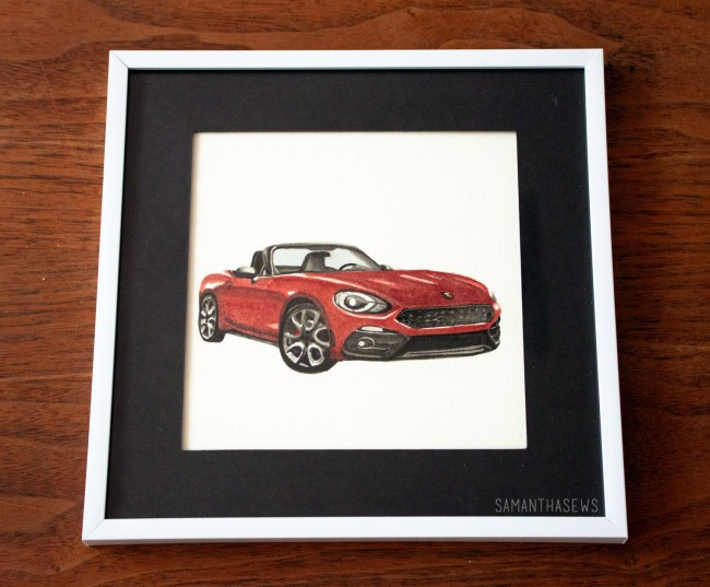watercolor painting of a fiat 124 spider abarth