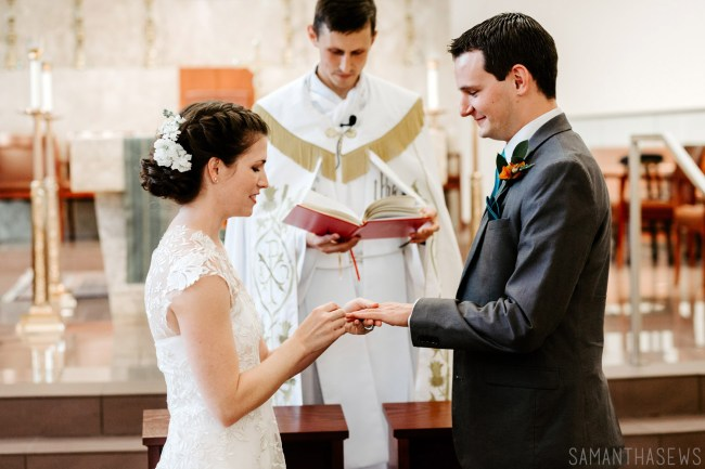 Catholic wedding ceremony - exchanging rings
