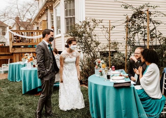 DIY backyard wedding, bride mask and groom mask - samanthasews blog