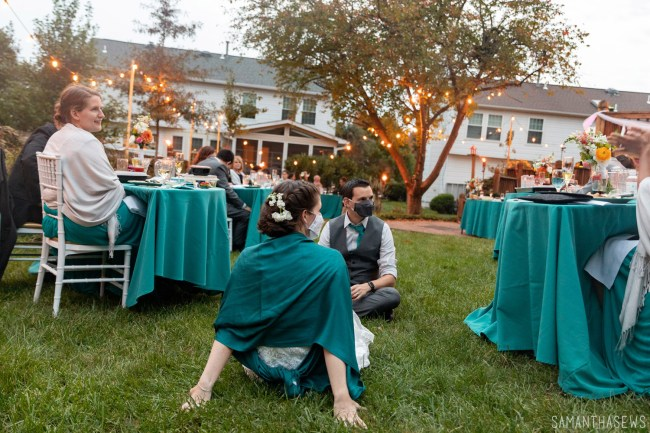 DIY backyard wedding with twinkle lights