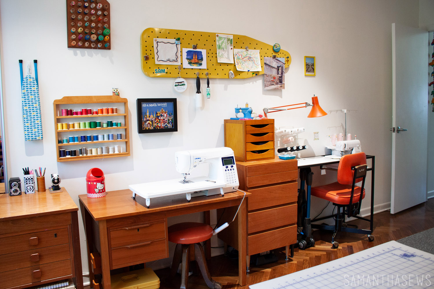 sewing room tour - sewing machine table