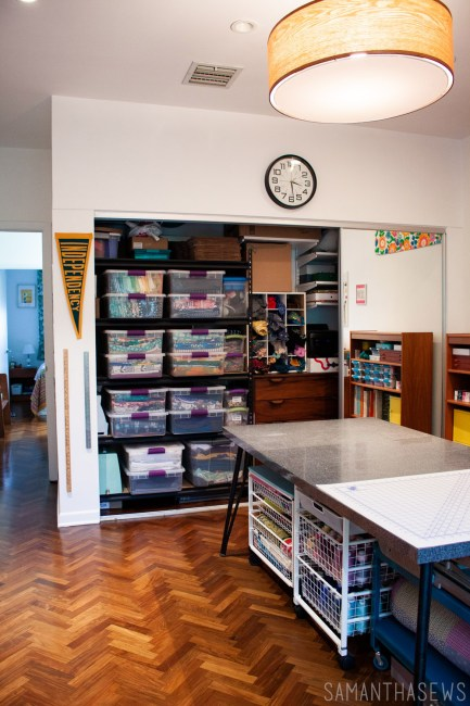 sewing room tour: sewing room fabric organization