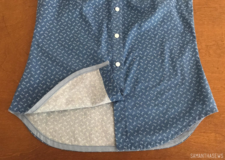 bias tape hem on button-down shirt
