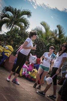 Piñatas in Jucuarán courtyard