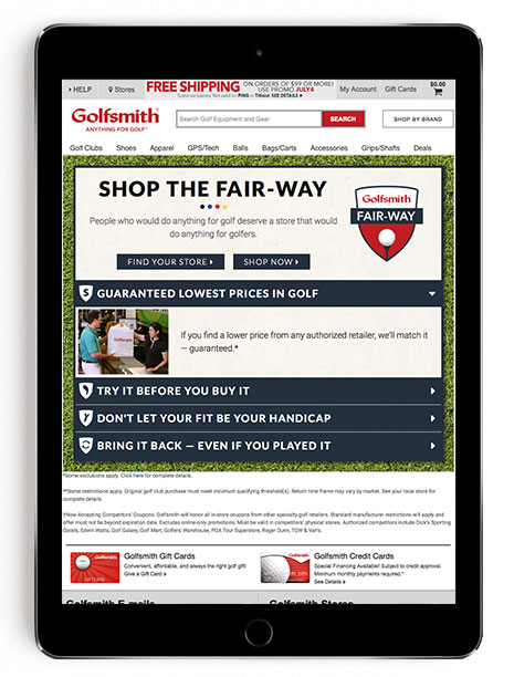 Golfsmith Fair-Way Landing Page