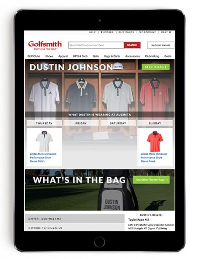 Dustin Johnson Masters scripting on Golfsmith