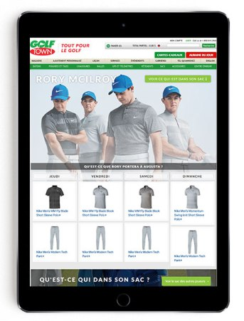 Rory McIlroy Masters scripting on Golf Town in French