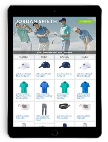 Jordan Spieth Masters scripting on Golfsmith