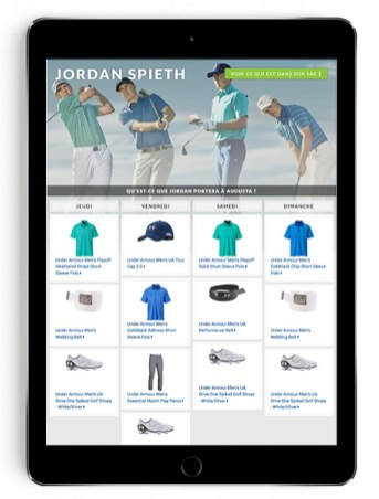 Jordan Spieth Masters scripting on Golf Town in French