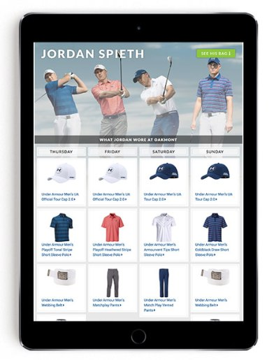 Jordan Spieth US Open scripting on Golfsmith