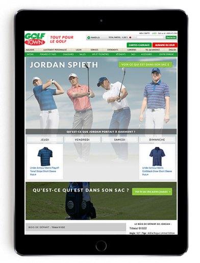 Jordan Spieth US Open scripting on Golf Town in French