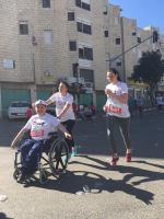 The marathon presented the freedom of happiness by our disabled fellows. Photo by: Bethlehem Bible College, Amira Farhoud