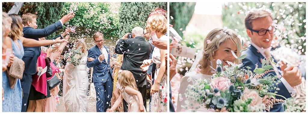 Chiddingstone Castle Wedding Exit Flowers Confetti - Mikaella Bridal - Sara Gabriel Veils - Johnnys Little Sister Florist - Sam Areman Photo