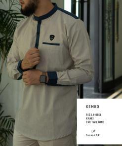 kemko-panjang-a0156-khaki-cvc-two-tone