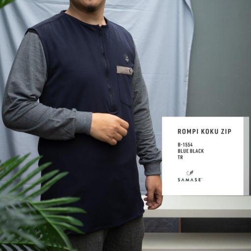 rompi-koku-zipp-b1554-blue-black-twill-dbl-stretch