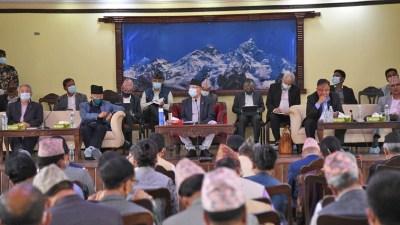 एमाले बैठक बालुवाटारमा जारी नेपाल पक्षका नेता अनुपस्थित