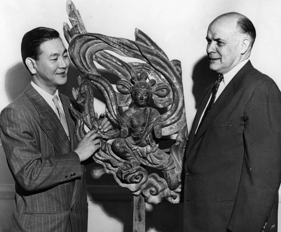 Dr. Fuller with Consul Saito of Japan at the opening of the 1953 exhibition