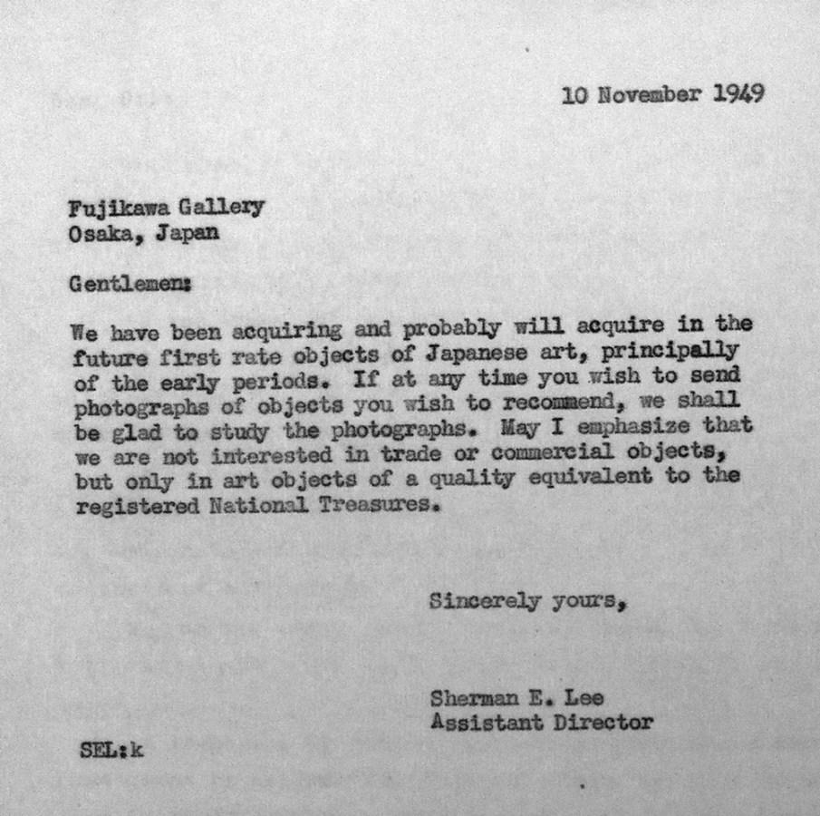 Letter from Sherman Lee to Fujikawa