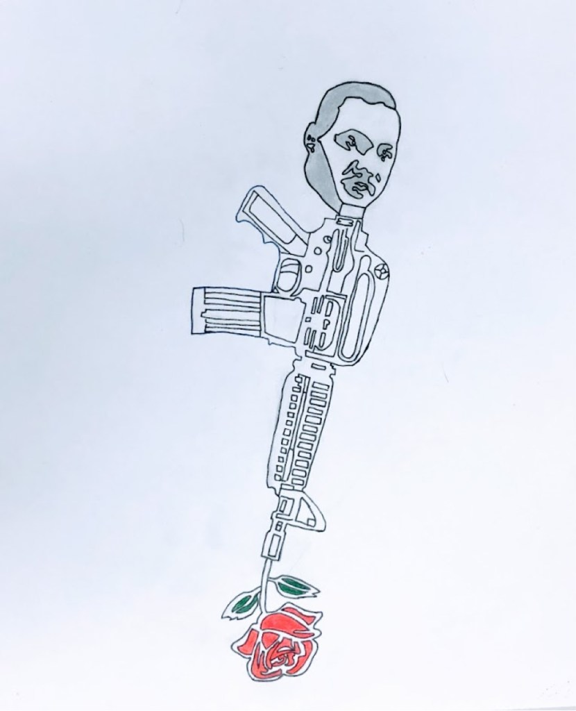 image of a line drawing of gun, with the top being the head of  Martin Luther King, Jr. and a rose coming out of the end