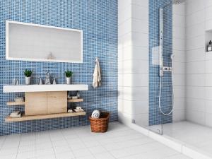 Azulejo Brillante Mosaico Azul